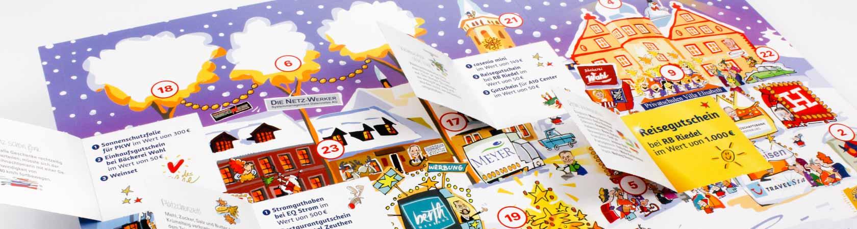 Kalender mit 24 angestanzten Türchen