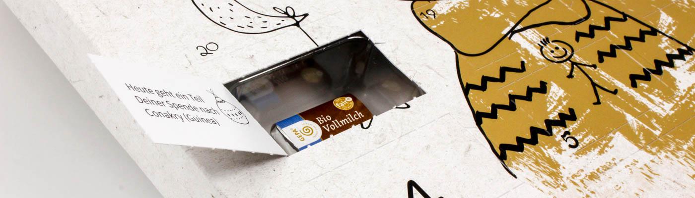 Tiefziehteil mit Schokolade im Adventskalender / Türchenkalender