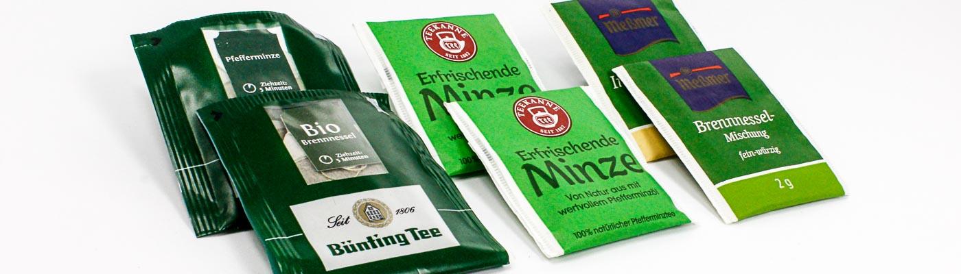 """verschiedene Primärverpackungen aus dem Produktbereich """"Tee"""""""