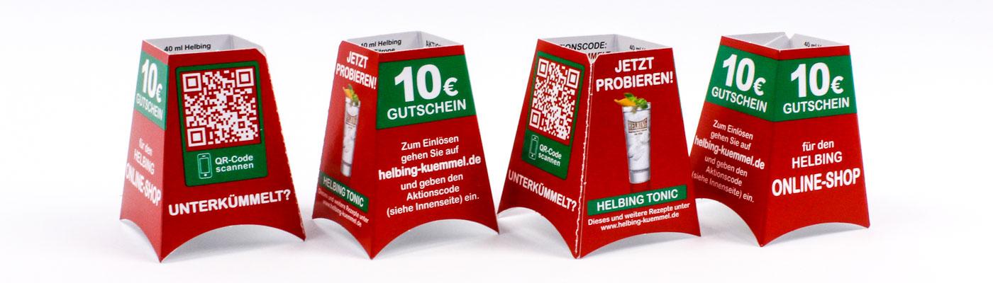 Flaschenaufstecker mit 4 Werbeflächen