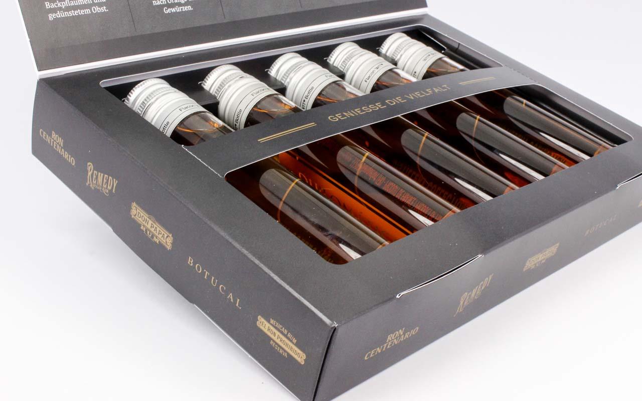 5 veschiedene Flaschen sicher verpackt in einer Klappdeckel-Verpackung