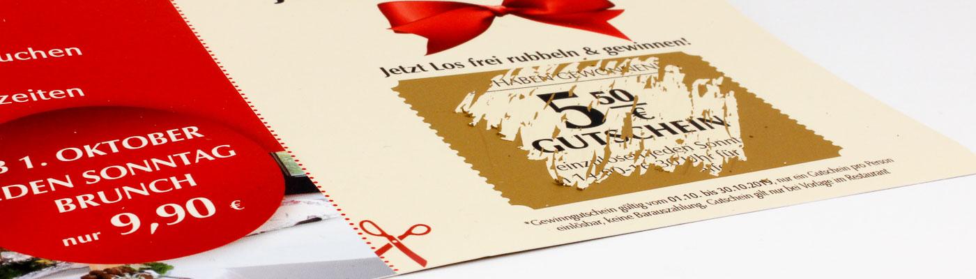 DIN A4 Flyer mit goldener Rubbelfläche