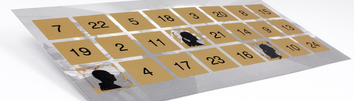 Rubbel-Adventskalender mit 24 Felden zu freirubbeln