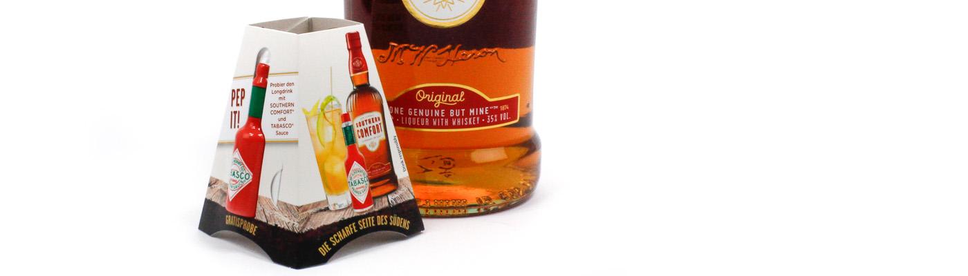 Flaschenanhänger mit Produkten