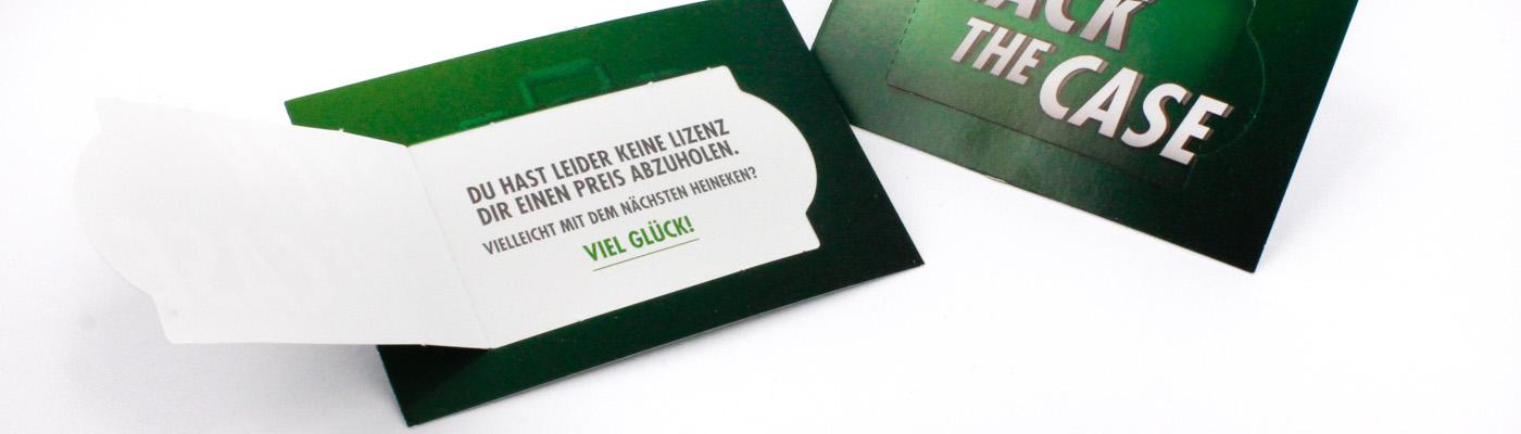Gewinn-Coupon im Visitenkartenformat