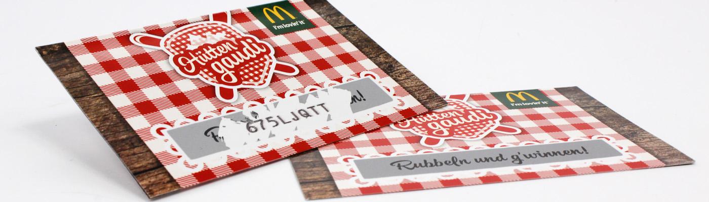 Rubbelkarten unique Gewinncodes
