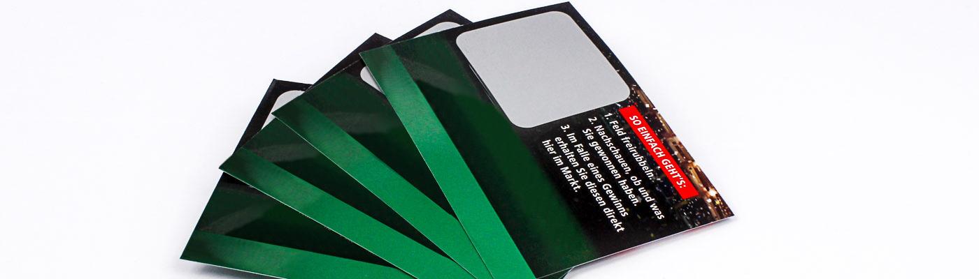 Etikett auf Rubbelkarte