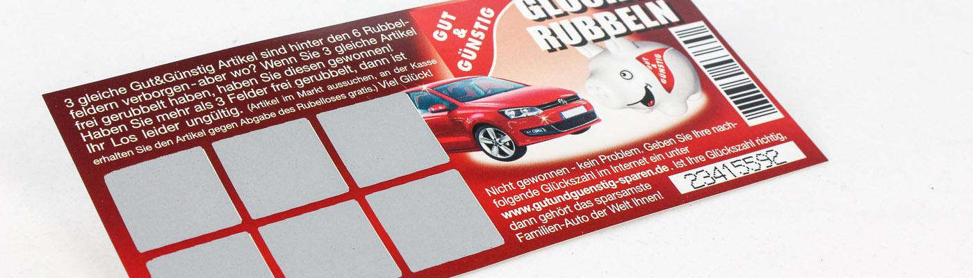 Rubbelkarten mit Online-Gewinnchance